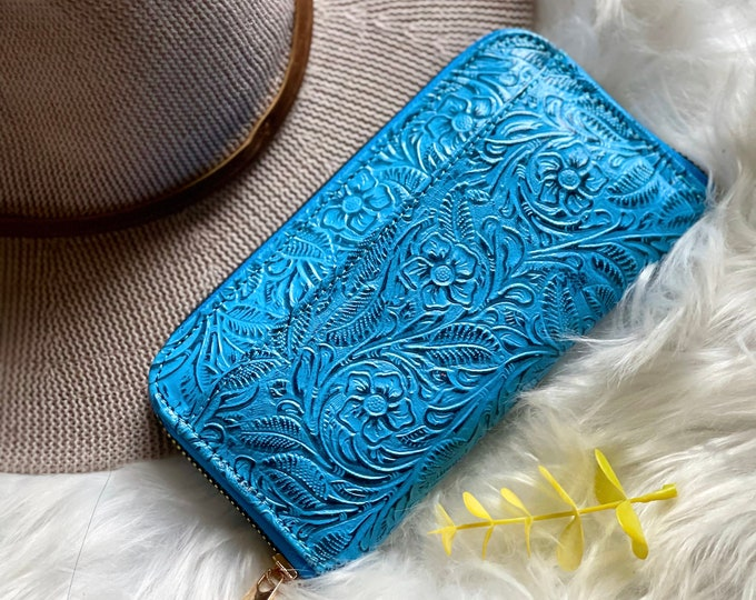 Leather wallets • zip around wallet for women • wallet organizer • gifts for her