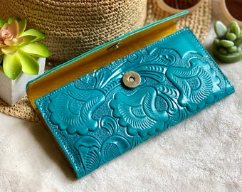Handmade authentic leather wallets for women -woman purse -leather wallet women -woman wallet -leather wallet -teal wallet - gifts for her