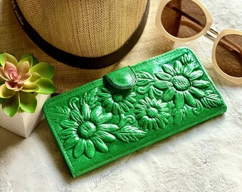 Tooled Sunflowers leather wallet - Woman Birthday gift - Bohemian wallet