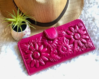 Leather Woman Wallets Sunflowers * Sunflowers Gift  * Leather wallets for Woman - christmas gift for her