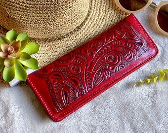 Handmade Tooled checkbook wallet- checkbook cover - gift for her - red checkbook cover - leather checkbook cover - woman wallet