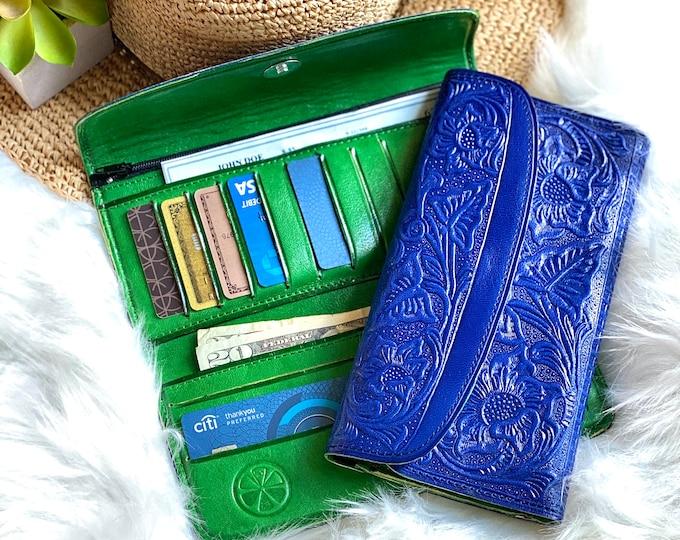 Cobalt Blue bicolor handmade Embossed lotus flowers wallets for women - Anniversary Gift - Leather wallets woman - handmade wallet