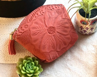 Leather small pouch - Floral coin purse - Small makeup pouch - Floral cosmetic bag - small bag for purse - gift for her