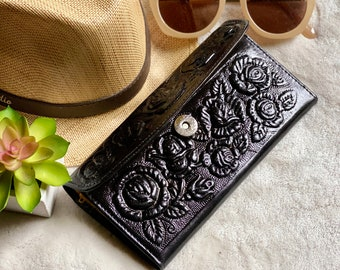 Leather wallet for her - handmade woman wallet - roses wallet - gift for her - woman wallet - woman purse - long wallet