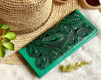 Tooled credit cards wallet- checkbook cover - gift for her - green checkbook cover - leather checkbook cover - woman wallet - woman wallet