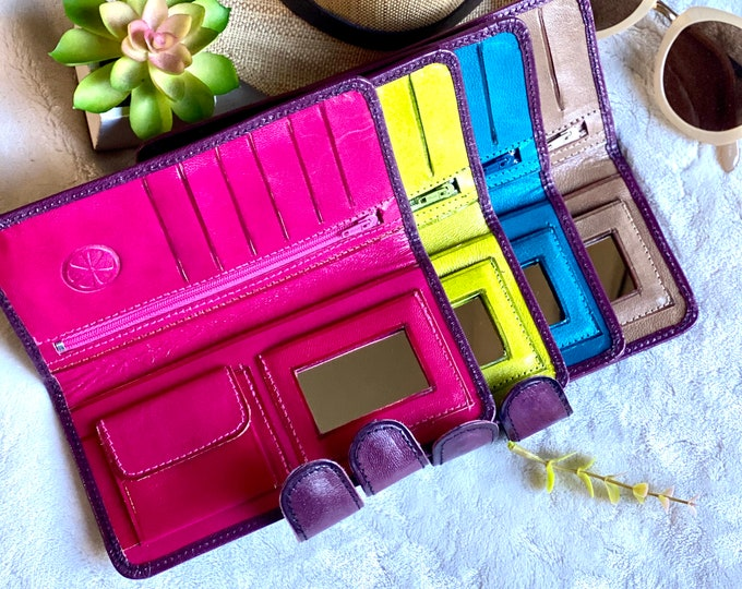 Bicolor Leather woman wallet - handmade wallet for woman -credit card wallet - women's wallet - gift for her- bifold wallet