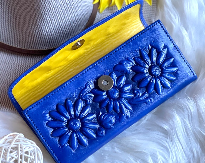 Sunflowers leather wallets for women*womens wallets*Gifts for her