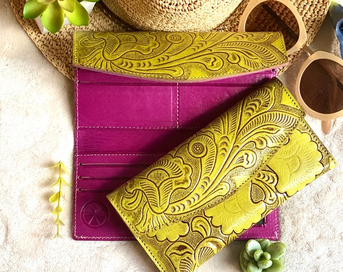 Bicolor handcrafted wallets for women - woman wallet - Handmade gift - Tooled wallets -woman wallet - leather wallet - woman purse
