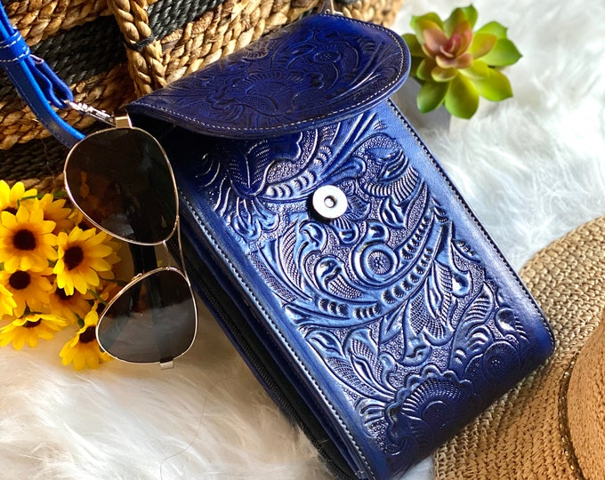 Blue Authentic leather crossbody small bag - Crossbody Bags - Crossbody purse - Crossbody phone case - Crossbody wallet - Handmade purse