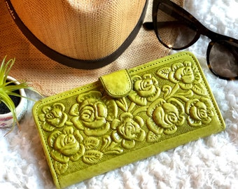 Leather woman wallet - Women's Leather Wallet -  Wallets for woman -Floral wallet- Gifts for her