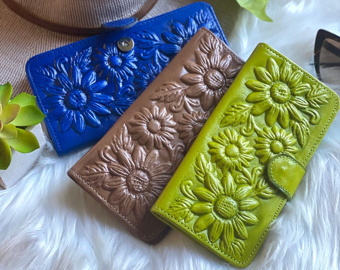 Authentic Leather wallets for women -  Sunflowers gifts - Women's wallets leather - Gifts for her