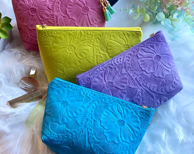 Embossed Leather Makeup Bag - Cosmetic Bag - leather toiletry bag