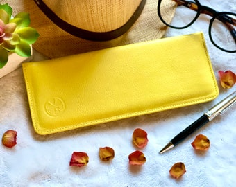 yellow woman checkbook cover - Leather checkbook cover - checkbook wallet for women- gift for her