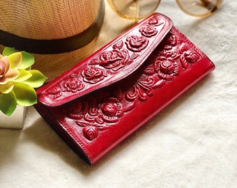 Roses leather wallet - Wallets for women- Valentine's Day gift for women - gifts for her