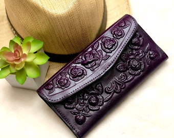 Leather woman wallet - woman wallet leather - Anniversary gift for her.