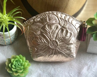 Small Leather Bag- Small Cosmetic Bag -Makeup Bag- Leather Coin Purse- Bridesmaid gift- gift for her