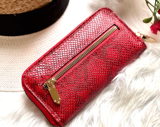 Snake print womens leather wallet-wallets for women -gifts for her