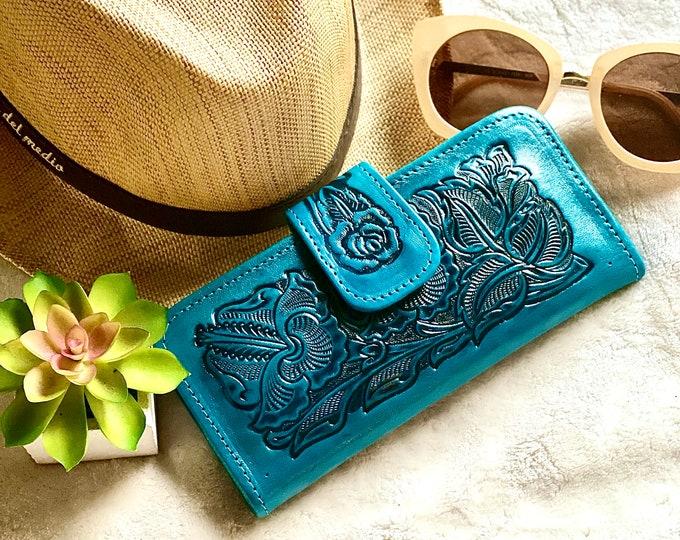 Women's wallet - Western wallet - Bohemian wallet  - Gifts for her - Handmade leather wallet- girlfriend gift