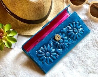 Bicolor Leather Sunflowers woman wallets, wallets for woman, leather purse wallet, leather wallet for woman, Christmas gift for friend