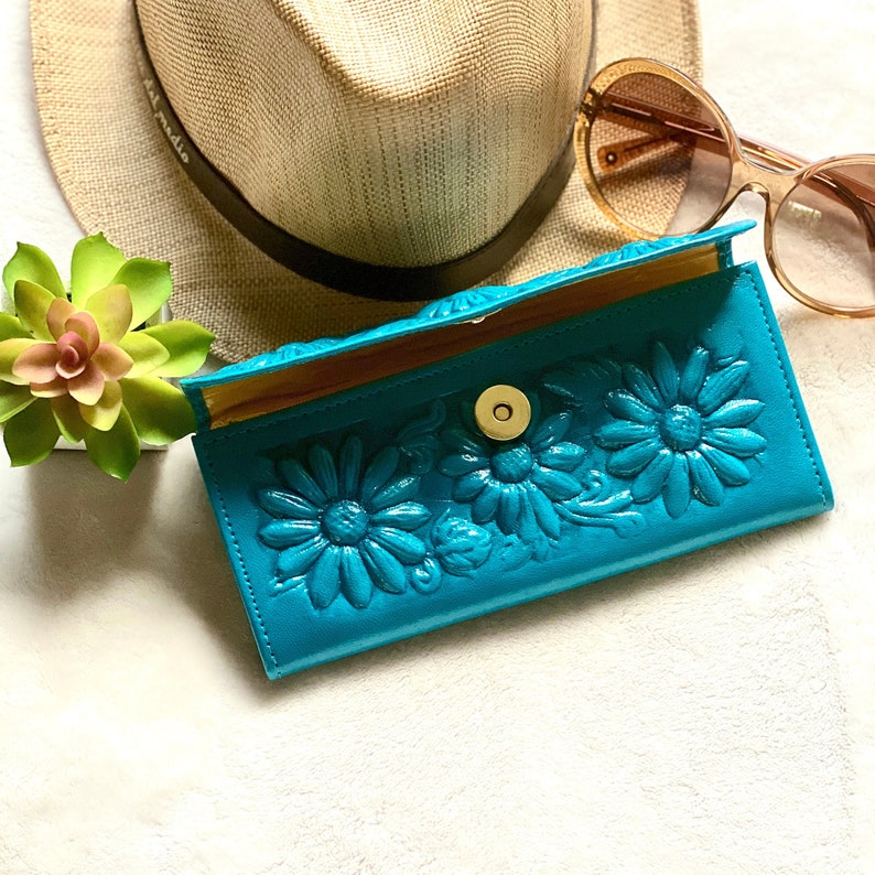 leather woman wallets gift for her gift for woman wallets for woman, Handcrafted sunflowers wallet
