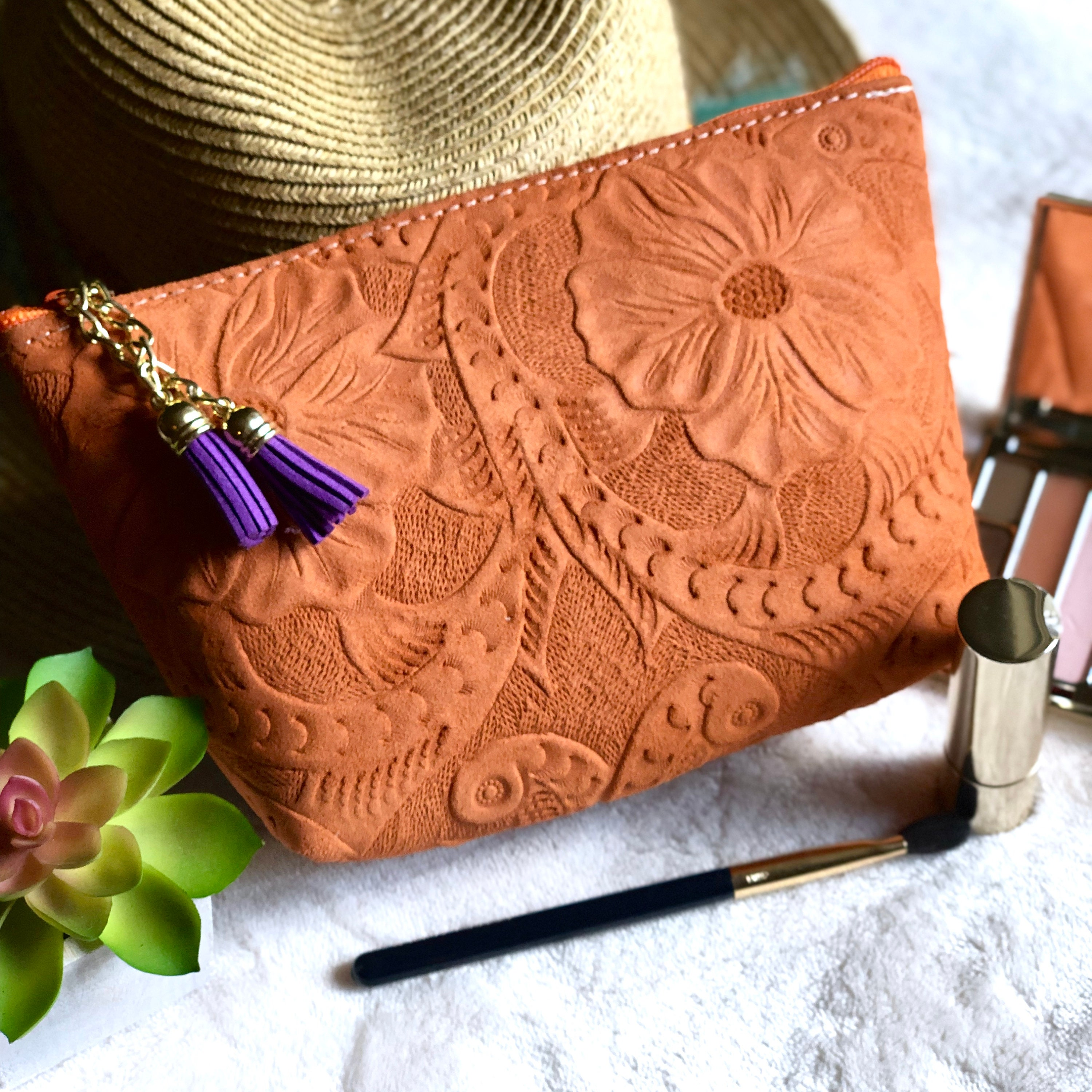 Orange Tooled Makeup Bag Handmade Cosmetic Birthday Present Gift For Her Leather Small BagToiletry BagValentines Day