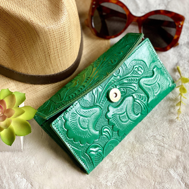 handmade green leather women's wallet card woman wallet