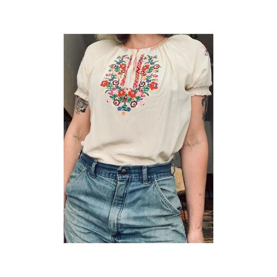 Stunning silk embroidered blouse