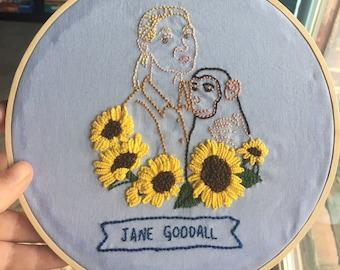 Jane Goodall Embroidered Hoop