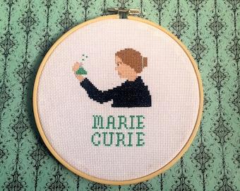 Marie Curie Cross Stitch Hoop