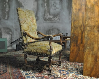 Antique Carved Devil's head French 19th century Needlepoint Throne chair