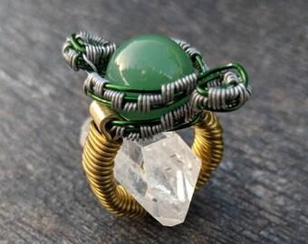 Green Aventurine Wire Wrap Ring Size 4.75