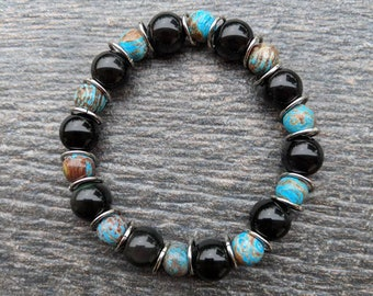 Obsidian & Crazy Lace Agate Beaded Rings Bracelet
