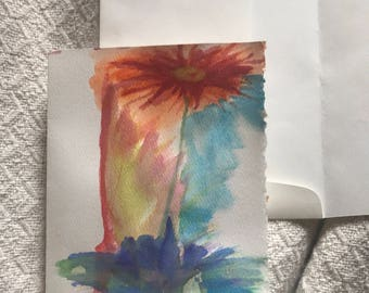 Hand painted water color flower note card