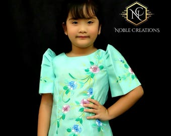 KIDS FILIPINIANA DRESS Handpainted Mestiza Gown SantaCruzan Philippine National Costume Maria Clara Baro at Saya Barong Tagalog - Mint Green