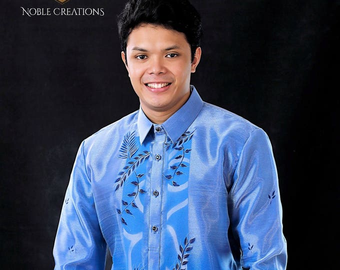Featured listing image: BARONG TAGALOG / Philippine Formal Wear For Men / BLUE Barong