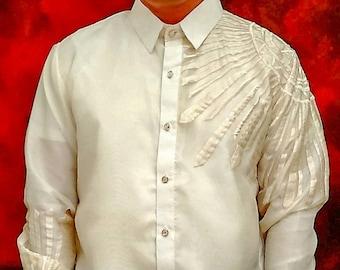 Barong Tagalog SINAG style with Inner Lining Filipino National Costume Filipiniana Lumban Laguna Philippines - US SIZE