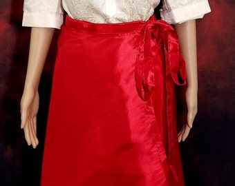 MIDI WRAP SKIRT Taffeta fabric for Ladies Barong Tagalog  Free Size Philippine National Costume Independence Day -Red
