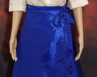 MIDI WRAP SKIRT Taffeta fabric for Ladies Barong Tagalog  Free Size Philippine National Costume Independence Day - Blue