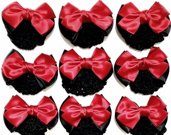 12 Pieces Bowknot Hair Clip Bun Cover Hairnet Bow Accessories for Women - Red