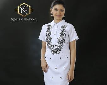0dbb9f79c41 Modern FILIPINIANA Dress Linen BARONG TAGALOG Philippine National Costume -  White