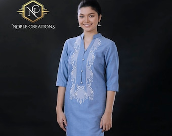 15c4395e3e4 Modern FILIPINIANA Dress Linen BARONG TAGALOG Philippine National Costume -  Light Blue
