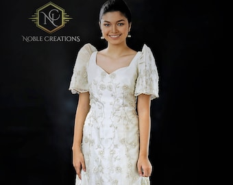 FILIPINIANA DRESS Embroidered Mestiza Gown  Filipino Barong Tagalog Pieces Cut Style - Beige