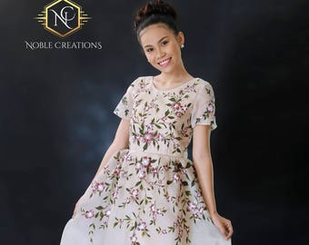 FILIPINIANA Dress Hand Painted Jusi BARONG TAGALOG Philippine National Costume - Floral Beige