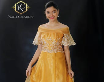 Sale!!!  FILIPINIANA Dress BARONG TAGALOG Philippine National Costume Embroidered Silk Organza  - Gold