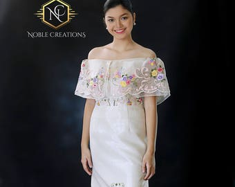 """FILIPINIANA Dress Hand-painted and Embroidered """"Maria Clara Terno"""" BARONG TAGALOG Philippine National Costume Gown - Beige"""