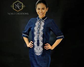 Sale!!!   Modern FILIPINIANA Dress Denim BARONG TAGALOG for her Philippine National Costume - Navy Blue