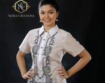 Modern FILIPINIANA Dress Silk BARONG TAGALOG Philippine National Costume - Beige