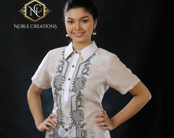 Featured listing image: Modern FILIPINIANA Dress Silk BARONG TAGALOG Philippine National Costume - Beige
