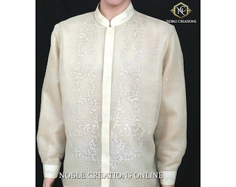 BARONG TAGALOG Pinya Fiber Cloth with Detachable Camiso Chino Philippine National Costume Filipiniana Formal Dress For Men - Beige