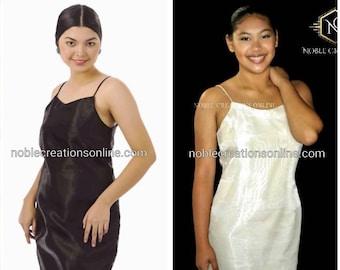 FILIPINIANA Base DRESS Knee Length Strap Silk/Organza Philippine National Costume - Beige/Black